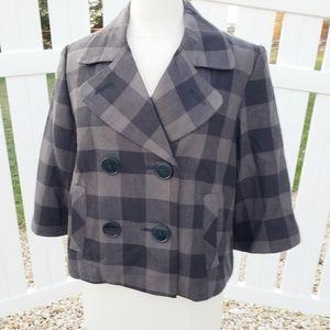 Larry Levine Black Gray Cropped Jacket Blazer sz10
